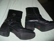 mm HARLEY DAVIDSON BLACK LEATHER MOTORCYCLE HARNESS ANKLE  BOOTS WOMENS 6 M