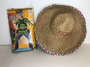 Men's Tequila Shooter Poppin Dude Mexican Costume with Sombrero Party Halloween