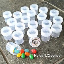 """12 one half oz 1 1/4"""" tall Plastic Jars Clear Caps Travel Samples 3304 DecoJars"""