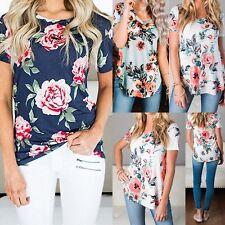 Fashion Women Casual Short Sleeve Shirt Loose Summer Cotton T-shirt Tops Blouse#
