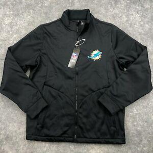 Miami Dolphins Jacket Mens Medium Black Full Zip Windbreaker NEW