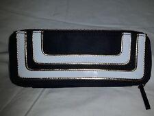 MAC cosmetics slim black white gold trim vinyl make up cosmetic case bag M.A.C.