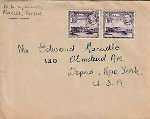 CYPRUS GEORGE VI 1948 LETTER FROM PLATRES TO NEW YORK, USA VIA LIMASSOL SCARCE