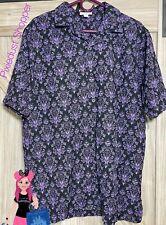 Disney Haunted Mansion Purple Wallpaper Button Mens Shirt