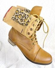 Wet Seal Women's Brown Animal Print  Size 8 Fold Over Combat Boots