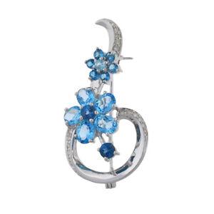 14K White Gold Blue Topaz & Diamond Floral Pin