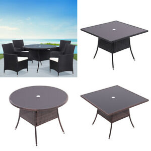 105CM Rattan Glass Table Outdoor Garden Patio Dining Tables with Parasol Hole UK