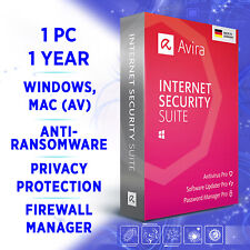 Avira Internet Security Suite 1 device 1 year 2020 full edition /Wn 10, Mac
