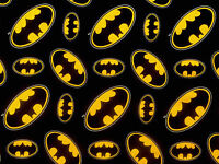BATMAN FABRIC LOGO SUPERHERO DC COMICS COTTON DARK KNIGHT CAMELOT   BY THE YARD