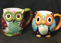 Lot of 2 Cups: Ollie Mug From Pier 1 Imports & Unbranded Hand Painted Owl