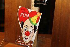 Vintage 1950's Let's Make Fun Valentine Card Clown