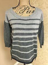 American Eagle Sweater Black Gray Silver Stripe Longer Back Small