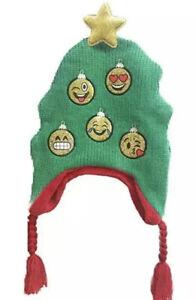 NWT Emoji Holiday Christmas Tree Peruvian Winter Knit Hat Girls Womens OSFM