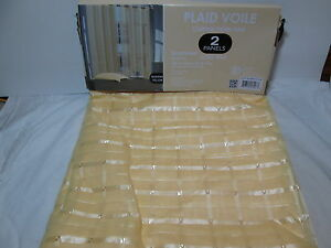 """Daintly Home PLAID VOILE Grommet Curtain Panel Pair (108""""x84"""") ~ Yellow Banana"""