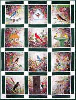 Whims Watercolor Quilt Kit -Rachels Bird Garden-Full Kit-Or Block Of The Month