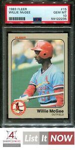 1983 FLEER #15 WILLIE McGEE RC CARDINALS PSA 10 A3156453-235