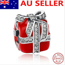 S925 Solid Sterling Silver European Charm W/CZ  RED-PRESENT ENAMEL charm bead 1#