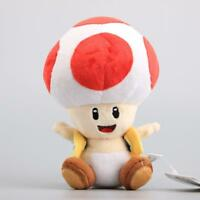 """7"""" Super Mario Bros Mushroom Toad Plush Toys Red Color Red Toad Stuffed Doll Hot"""