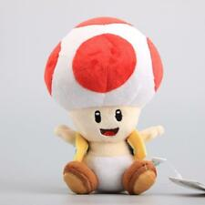 "7"" Super Mario Bros Mushroom Toad Plush Toys Red Color Red Toad Stuffed Doll Hot"