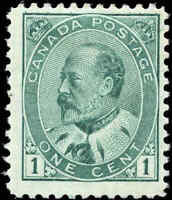 Mint Canada F+ Scott #89 1c 1903 King Edward VII Issue Stamp Hinged