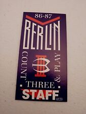 Berlin 86 87 Count Three & Play Staff Backstage Concert Pass