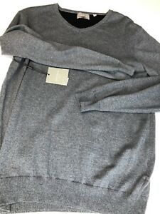 Hickey Freeman Men Sweater Cashmere Cotton Blend V Neck Pullover Gray Medium M