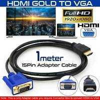 HDMI Lead to Laptop Cable Adapter HD VGA 15Pin 1080P Converter Male Monitor UK~~