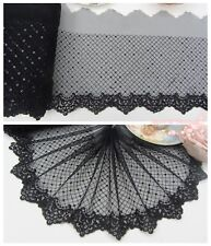 """7""""*1Y Embroidered Tulle Lace Trim~Sequined~Black~Gorgeous~Sewing/DIY/Costume~"""