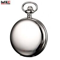 Silver Smooth Double Skeleton Antique Windup Mechanical Men's Pocket Watch Gift