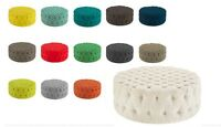 """LARGE ROUND COFFEE TABLE COCKTAIL OTTOMAN BUTTON TUFTED 14 FABRIC COLORS 40"""" DIA"""