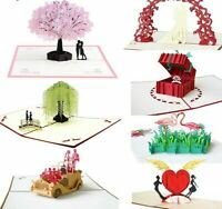 Love 3D Pop UP Cards Valentines Day Gift Postcard With Envelope Stickers Wedding