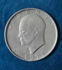 "Vintage 1971 Eisenhower One Dollar Large Souvenir Coin Medallion - 3"" Diameter"