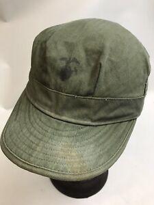 "VINTAGE 1940s USMC HBT Herringbone Fatigue Hat Size M 24"""