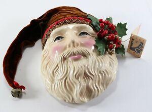 Vintage 1990 CLAY ART Handmade Jenny McLain Santa Ceramic Hanging Mask Decor