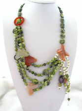 """Green Turquoise Carnelian White Baroque Pearl NecklaceJasper Toggle Clasp 23"""""""