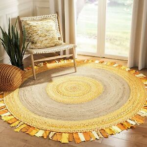 Rug Natural Jute & Cotton Braided Style Round Rug Area Carpet Living Modern Rugs
