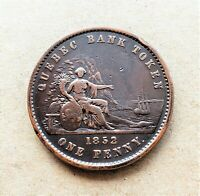 🍁 PC-4 One Penny Token 1852 Province of du Canada Quebec Bank Breton 528