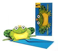 Pop-Up-3 D-carte Animaux: LE ROIS DES GRENOUILLES FRITZ+de coloris bleu