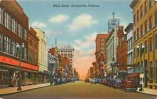 EVANSVILLE IN MAIN STREET 1940 LINEN POSTCARD