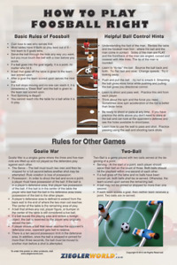 LAMINATED HOW TO PLAY FOOSBALL RIGHT POSTER + RULES FOR YOUR TABLE