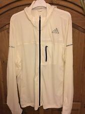 Adidas stretch running jacket white cream XL men's fitness BNWT hoodie AP9781