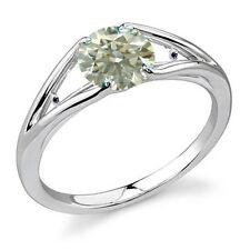 1.53 ct VS1/OFF WHITE REAL ROUND MOISSANITE & NATURAL BLACK DIAMOND SILVER RING