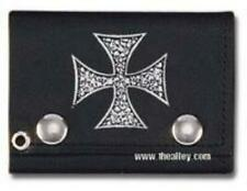 Pile of Skulls Iron Cross Tri-fold Biker Wallet