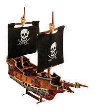 """Veliero puzzle 3D tridimensionale in legno """"Nave dei pirati con due vele"""""""