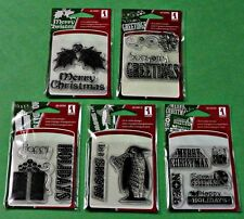 Inkadinkado Clear Mini Stamps Set of 5 Holiday Sentiments Greetings Thoughts NEW