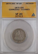 1875 Seated Liberty 20 Cent Piece, ANACS VF-20 Details - Corroded - Cleaned