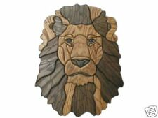 GORGEOUS AFRICAN LION INTARSIA OAK WOOD WALL CARVING