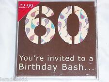 60TH BIRTHDAY PARTY INVITES PACK 10  INVITATIONS CELEBRATION PARTY UNISEX