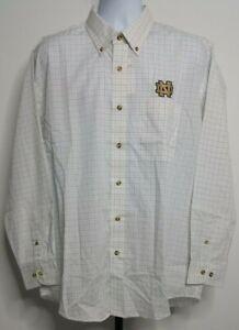 NEW NWT Antigua White & Gray Notre Dame Fighting Irish Dress Shirt Size L H101