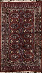 Antique Geometric Bokhara Oriental Area Rug Hand-knotted Wool 3x5 Kitchen Carpet